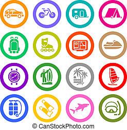 recreação, jogo, &, férias, ícones, viagem