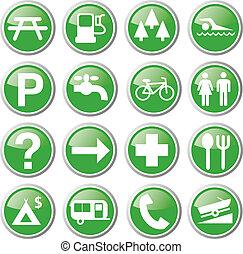 recreação, verde, ícones