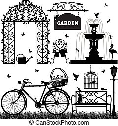 recreacional, parque, jardim