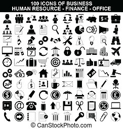 recurso, jogo, finanças, ícones escritório, negócio, human
