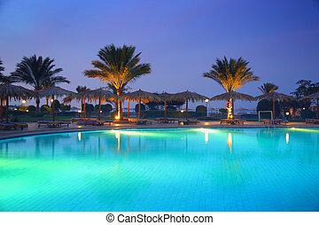recurso, piscina, pôr do sol, tropicais