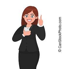 rede, conceito, mostrando, tecnologia, móvel, executiva, selfie, sentimento, aplicação, sinal, enquanto, vetorial, ilustração, social, exited., levando, app, victory/peace/freedom, style., caricatura, feliz