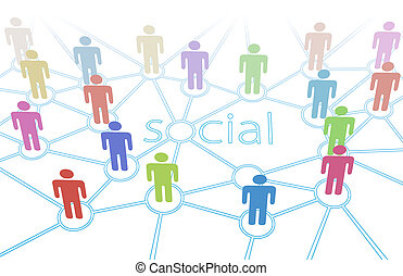 rede, pessoas colorem, mídia, conexões, social