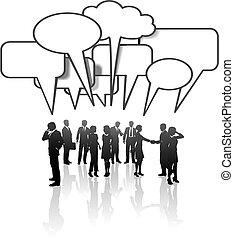 rede, pessoas negócio, mídia, comunicação, conversa equipe
