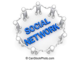 rede, pessoas, social, -, cobrança, conceitos, círculo