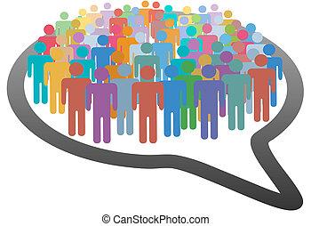 rede, torcida, pessoas, mídia, fala, social, bolha