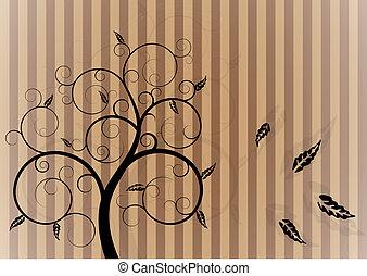 redemoinho, outono, árvore