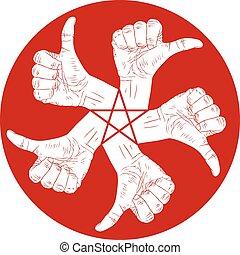 redondo, emblema, polegar, estrela, abstratos, cima, mão, pentagonal, vetorial, cinco, especiais, human, sinais, pretas, branca, símbolo, hands.