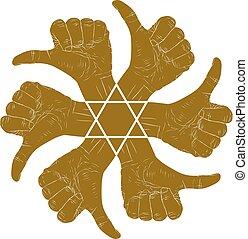 redondo, emblema, polegar, estrela, abstratos, seis, cima, hexagonal, mão, vetorial, pretas, especiais, human, sinais, branca, símbolo, hands.