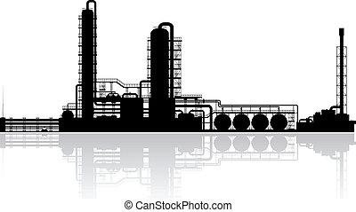 refinaria, planta, óleo, silueta
