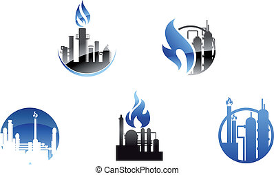 refinaria, símbolos, fábrica, ícones