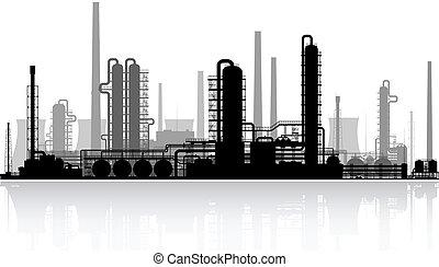 refinaria, vetorial, silhouette., illustration., óleo