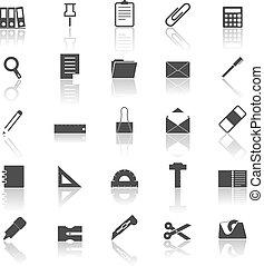 refletir, branca, estacionário, fundo, ícones