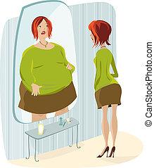 reflexão, dela, senhora gorda