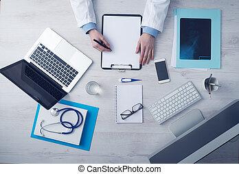 registros, doutor médico, escrita
