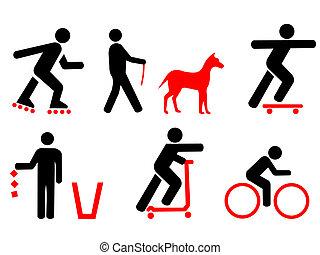 regras, símbolos, parque, vermelho