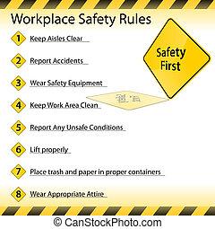 regras, segurança, local trabalho