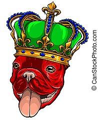 rei, branca, vetorial, cão, ilustração, fundo