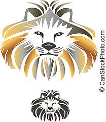rei, leão, vetorial, logotipo