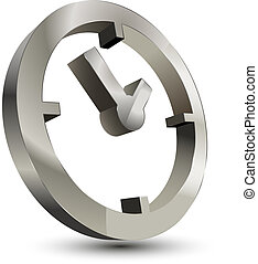 relógio, 3d, ícone, tempo
