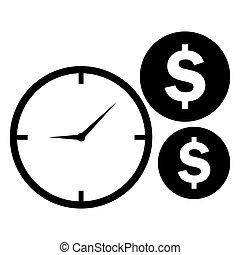 relógio, dinheiro, moedas, símbolo., vetorial, tempo, icon.