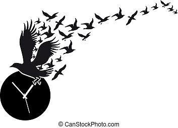 relógio, voando, vetorial, pássaros