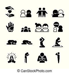 relacionamento, família, amizade, amigo, amor, ícones, vetorial