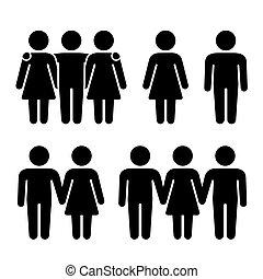 relacionamentos, sozinha, vetorial, human, threesome, combination., sexual, ícones, set., par