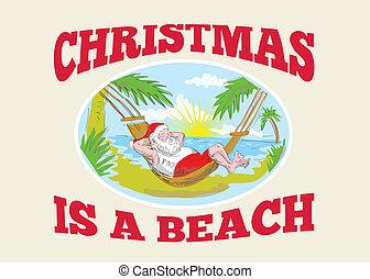 relaxante, claus, pai, santa, praia, natal