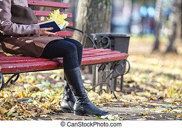 relaxe, mulher, bonito, sentando, autumn., jovem, park., bench., livro