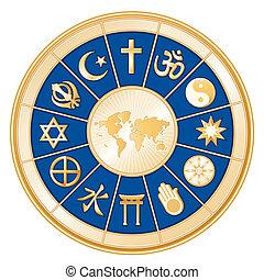 religiões, mapa, mundo