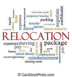 relocation, conceito, palavra, nuvem