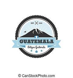 remendo, guatemala, agua., antigua, vulcão, emblema