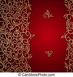 renda, ouro, ornamento, convite, floral, vermelho