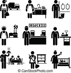renda, trabalhos, baixo, carreiras, ocupações