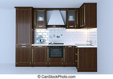 render, pavimentando, clássicas, madeira, interior, branca, cozinha, 3d