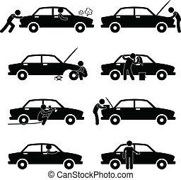 reparar, car, dificuldade, lavagem, pneumático, cheque