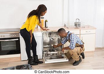 reparar, dishwasher, cozinha