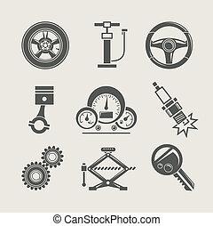 reparar, parte, jogo, ícone, car