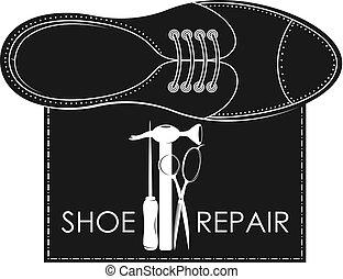 reparar, símbolo, ferramenta, sapato
