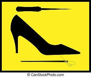 reparar, sapatos, mulheres, pretas