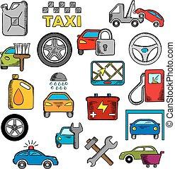 reparar, serviço, ícones, car