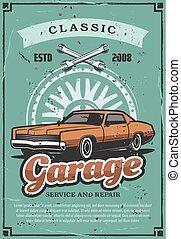 reparar, serviço, vindima, garagem, vetorial, car