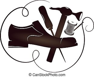 reparar, vetorial, silueta, sapato