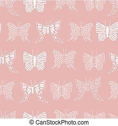 repetindo, cor-de-rosa, padrão, branca, esboços, vetorial, experiência., borboletas