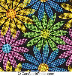 repetindo, flor, fundo, halftone
