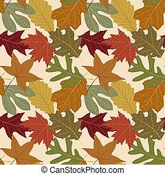 repetindo, folha, seamless, fundo, outono