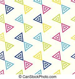 repetir, coloridos, padrão, triangular, seamless, fundo, branca