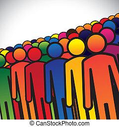 representa, gráfico, conceito, grupo, estudantes, coloridos, pessoas, formando, abstratos, ícones, -, trabalhadores, ou, jardim infância, também, cores, crianças, vário, vector., empregados, crianças