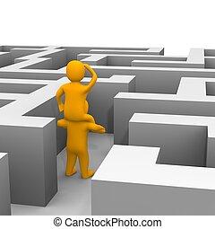 representado, illustration., labyrinth., através, achando, caminho, 3d